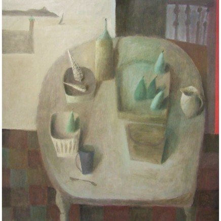 Nicholas Turner RWA Table with Pears and Shells Oil on panel 76 x 76 cm
