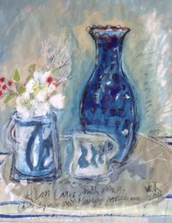 Virginia Hiller Blue Ceramics Mixed media on panel 47 x 37