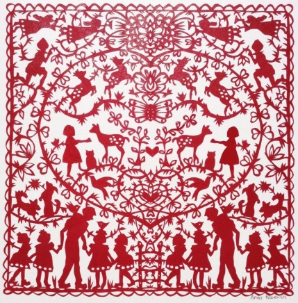 Anna Howarth The Gentle Man Red paper cut 39 x 39 cm