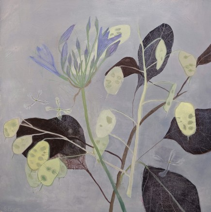 Suzy Fasht Smokebush Leaves and Agapanthus Oil on canvas board 40 x 40 cm