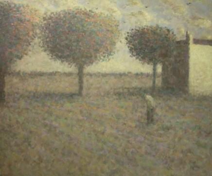 Nicholas Turner RWA, Figure in Field with Crows