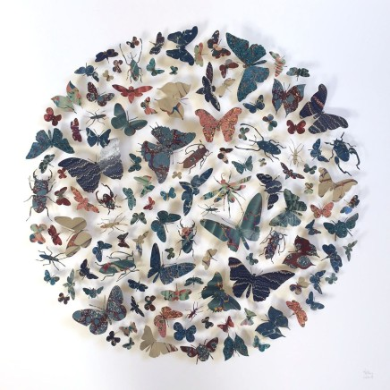 Helen Ward Radius in Blue Victorian hand-marbled papers, gold leaf, enamel pins 60 x 60 cm