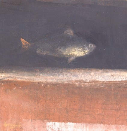 David Brayne RWS River Fish I Pigment and watercolour on canvas 20 x 20 cm