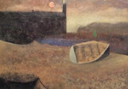 Nicholas Turner RWA Pale Moon Oil on board 28 x 40 cm