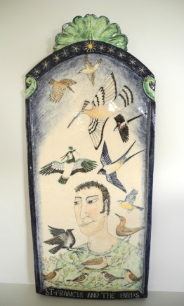 Giorgina Warne St. Francis and the Birds Hand painted high fired earthenware 54 x 23 cm