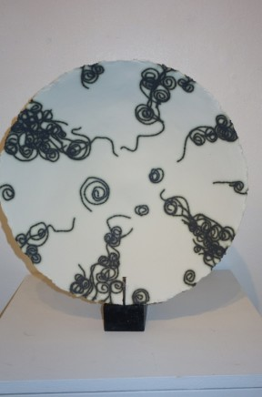 Mary Jane Evans Fireworks Porcelain paper clay platter with copper multi-fired Dia. 46 cm