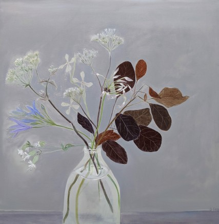Suzy Fasht Summer Stems in a Milk Bottle Oil on canvas board 60 x 60 cm