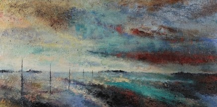 Nicola Rose Path to Holy Island Oil and sand on canvas 100 x 50 cm