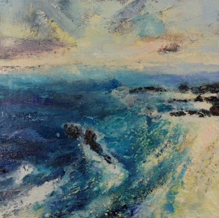 Nicola Rose Beach of The Martyrs Oil and sand on canvas 90 x 90 cm