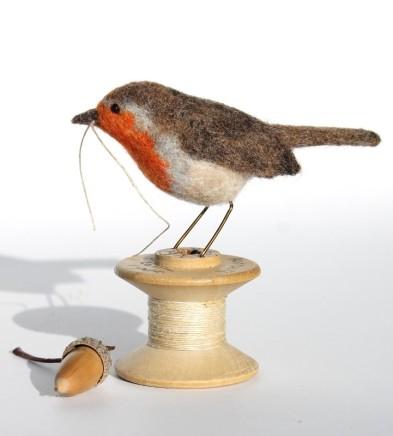 Dinny Pocock Bobbin Robin Needle-felted wool fibres and vintage cotton reel