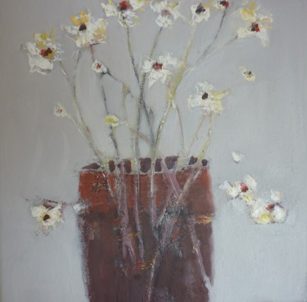 Marilyn Browning Brown pot with pale flowers Oil on canvas 32 x 32 cm