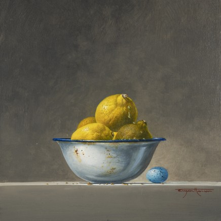 Bryan Hanlon Lemons, Thrush Egg and Enamel Bowl Acrylic on board 30 x 30 cm