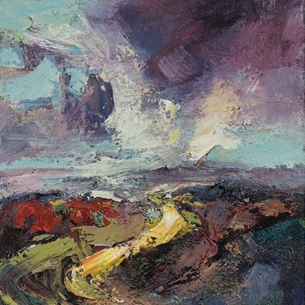 Nicola Rose Sky above Tor Oil and sand on canvas 50 x 50 cm