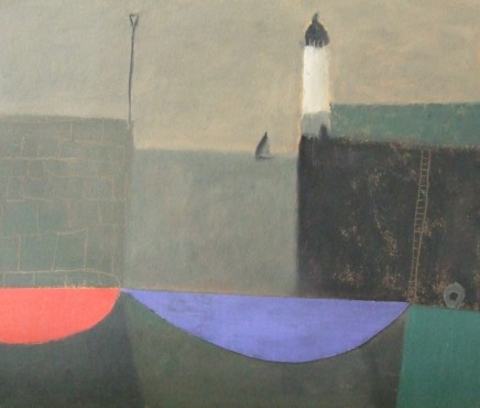 Nicholas Turner RWA Lighthouse Oil and collage 26 x 30 cm