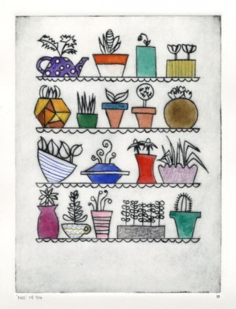 Devi Singh Pots 1 Hand coloured etching Edition 5 of 14 20 x 15cm