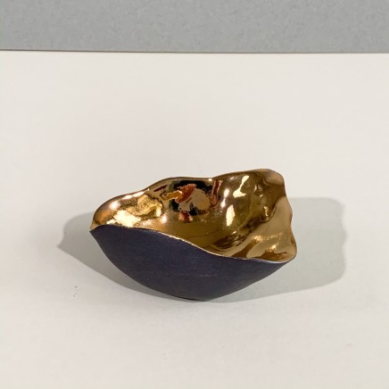 Penny Little Asymmetrical Bowl 1 Black Porcelain and Gold Lustre 3 x 8 cm