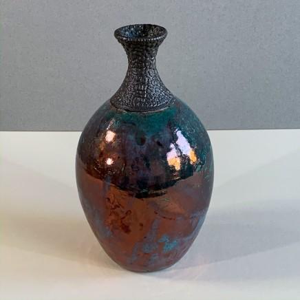 Keith Menear Raku Bottle 5 Ceramic with Lustre Glaze 22 x 12 cm