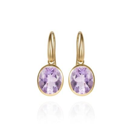 Gems Minka Indian Ocean Earrings Lilac coloured Amethyst Gemstones 18kt Yellow Gold