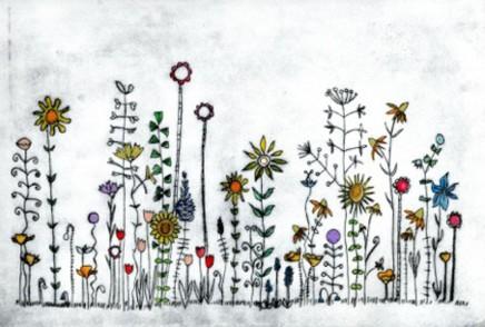 Devi Singh Summer Garden Haze Etching 20 x 32 cm
