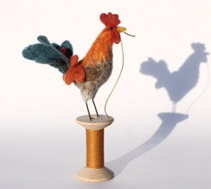 Dinny Pocock Bobbin Bird: Tw'early Bird Needle-felt and vintage folding ruler