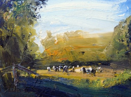Robert Newton Grazing Cows, Deep Shade Oil on canvas 40 x 30 cm