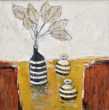 Malcolm Taylor Cornish Pots Acrylic on board 40.5 x 40.5 cm