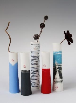 Ali Tomlin Single stem vases Unglazed sanded porcelain