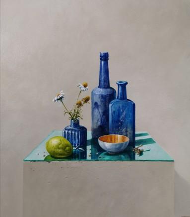 Bryan Hanlon Blue Bottle Hornet and Lemon Acrylic on board 60 x 60 cm