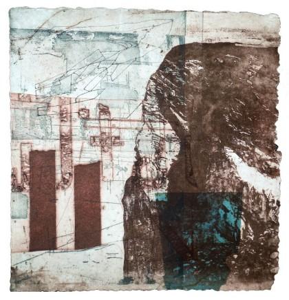 Jeremy Gardiner Sennen Cove Monoprint 60 x 60 cm