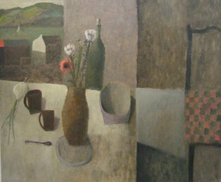 Nicholas Turner RWA, Table with Harbour and Flowers