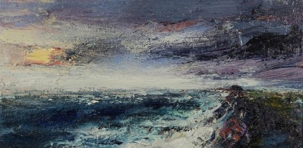 Nicola Rose Looking Towards The Martello Tower Oil and sand on canvas 30 x 60 cm