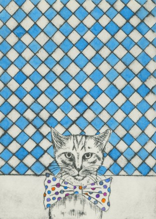 Devi Singh Cat Hand coloured etching 30 x 20 cm Edition of 14