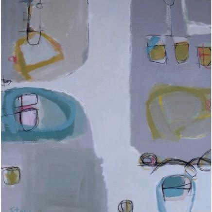Stephanie Stow Silver Estuary Acrylic on canvas 60 x 60 cm