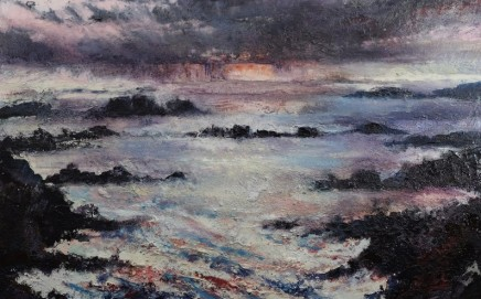 Nicola Rose The Bay of St Columba Oil and sand on canvas 76 x 122 cm