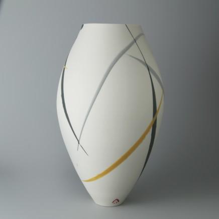 Ali Tomlin AT32: Oval Vase - Yellow and Grey Splash Porcelain H: 22.5 cm