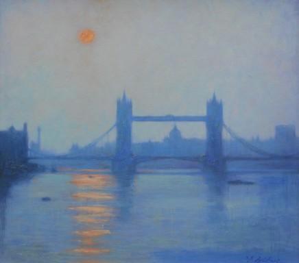Terence Gilbert Tower Bridge, Late Sun Oil on board 46 x 51 cm