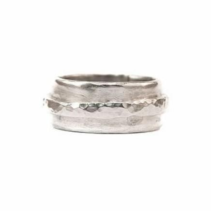 Daya Daya Designs 925 Eco Silver Battered Single Loop Band Ring Upcycled Silver Hand Crafted