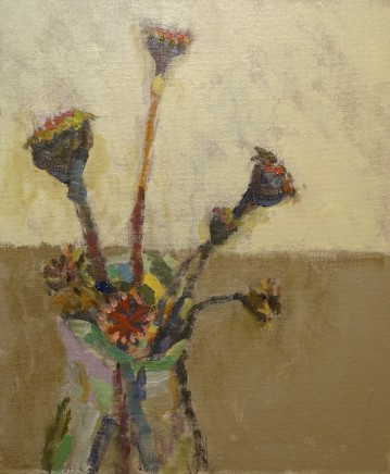 Nicholas Turner RWA Poppy Head Oil on board 30.5 x 25.5 cm