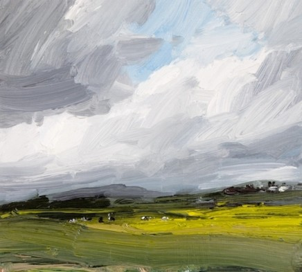 Robert Newton Strong Wind, Simonside Hill Oil on board 26 x 24 cm