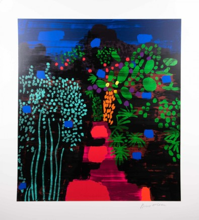 Bruce McLean Red Garden Path Silkscreen print with hand painted embellishment Edition of 75 Framed 101 x 112 cm
