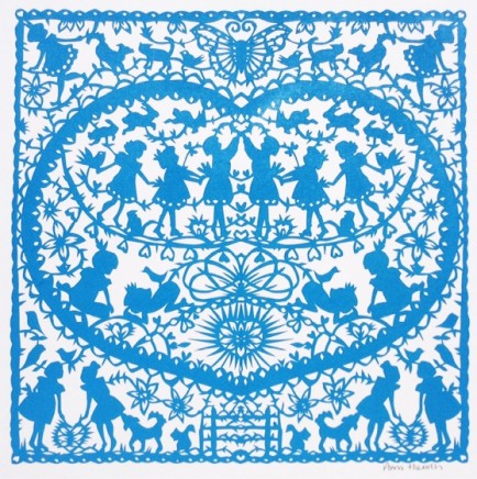 Anna Howarth Kind Hearts Blue paper cut 39 x 39 cm