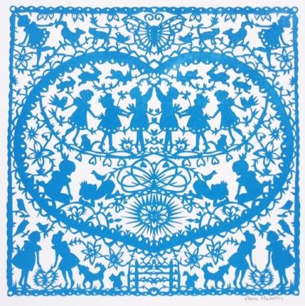Anna Howarth  Kind Hearts  Blue paper cut  39 x 39 cm