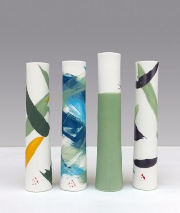 Ali Tomlin  Four Stems - Springs greens  Porcelain
