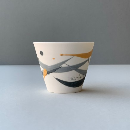 Ali Tomlin, Conical Cup - Grey and Yellow Splash