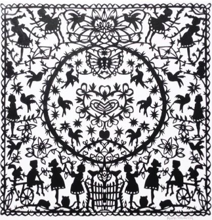 Anna Howarth  Before You  Black paper cut  39 x 39 cm