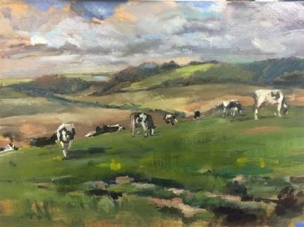 Clemmie St John Webster Cows in Wiltshire Oil on linen 29 x 42 cm