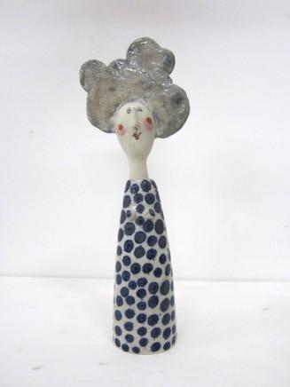 Jane Muir  Lady, Blue Spotted Dress  Ceramic  25 x 9 x 4 cm