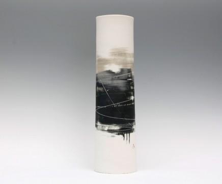 Ali Tomlin, Tall Cylinder Vase. Olive & Black