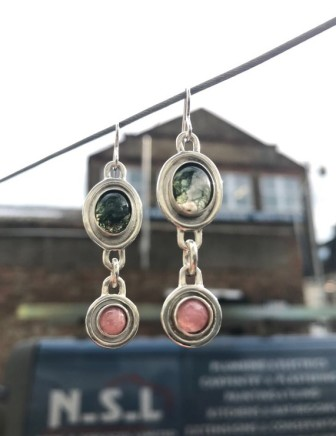 Daya Daya Designs Eco Silver Framed Earrings Moss Agate & Rhodochrosite with 925 Eco Silver Framed Earrings 4 x 1.5 mm Hand Crafted