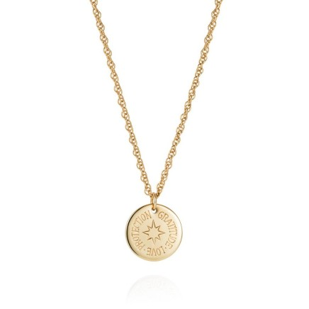 """Gems Minka Gold Protection Charm 9kt Gold disc 15mm diameter Comes with fine gold chain 18"""" / 45 cm"""